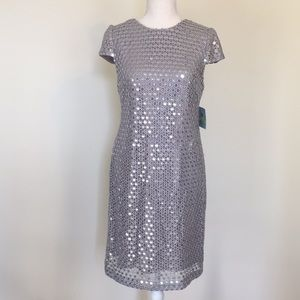 Suzy Chin for Maggie Boutique Silver Sequin Dress